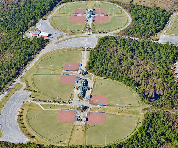 An Arial Shot of all the Fields of Sportsplex